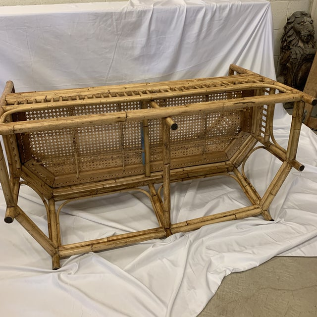 Brown Chinese Chippendale Brighton Style Bamboo Bench For Sale - Image 8 of 12