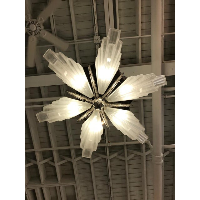 Glass Grand French Art Deco Six-Panel Starburst Chandelier by Sabino For Sale - Image 7 of 11