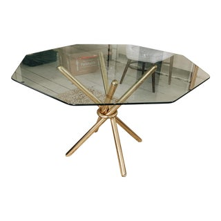 Brass Knot Glass Top Table For Sale