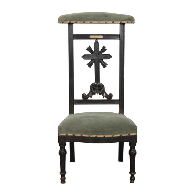 French 19th Century Upholstered and Ebonized Prie Dieu For Sale - Image 13 of 13