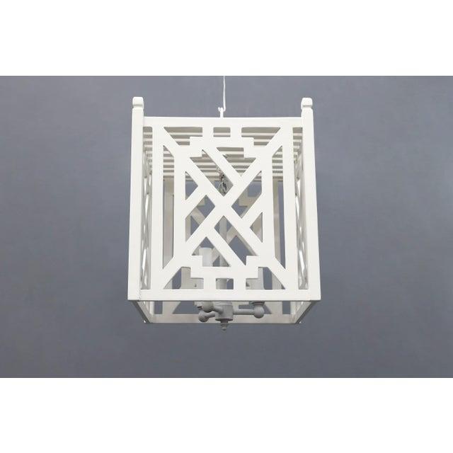 Modern Modern Wood Geometric Brighton White Cube Lantern For Sale - Image 3 of 9