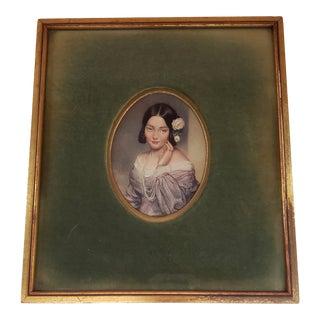 Antique Framed Handpainted Miniature Portrait For Sale