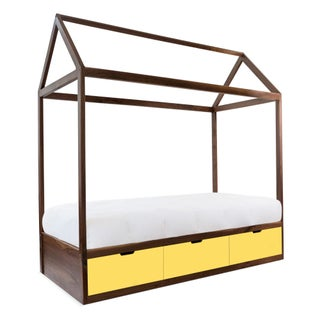 Domo Zen Twin Canopy Bed in Walnut With Yellow Finish Drawers Preview