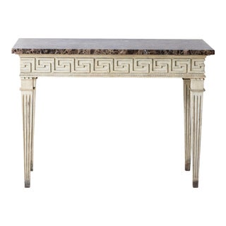 French Louis XVI Style Console Table with Greek Key Design and Marble Top For Sale