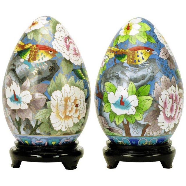 "Pair 11.5"" Colorful Cloisonne Eggs For Sale - Image 11 of 11"