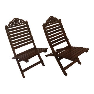 1960s Vintage Indonesian Folding Chairs- a Pair For Sale