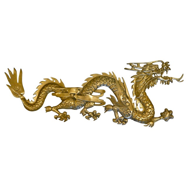 Large Brass Wall Hanging Dragons - A Pair - Image 4 of 7