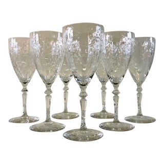 Vintage 1950s Tall Wheel Cut Wine Stems, Set of 7 For Sale
