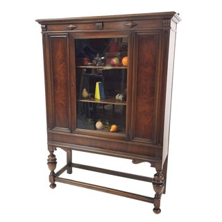 1930s Hollywood Regency Glass Front China Cabinet For Sale