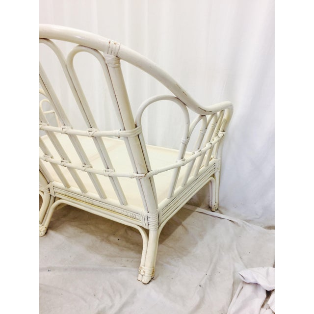 White Vintage Rattan Love Seat Sofa For Sale - Image 8 of 9