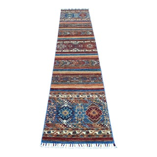 Khorjin Design Runner Red Kazak Tribal Hand Knotted Pure Wool For Sale