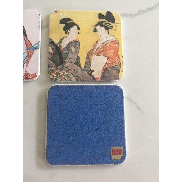 Japanese Geisha Women Coasters - Set of 6 For Sale - Image 9 of 10