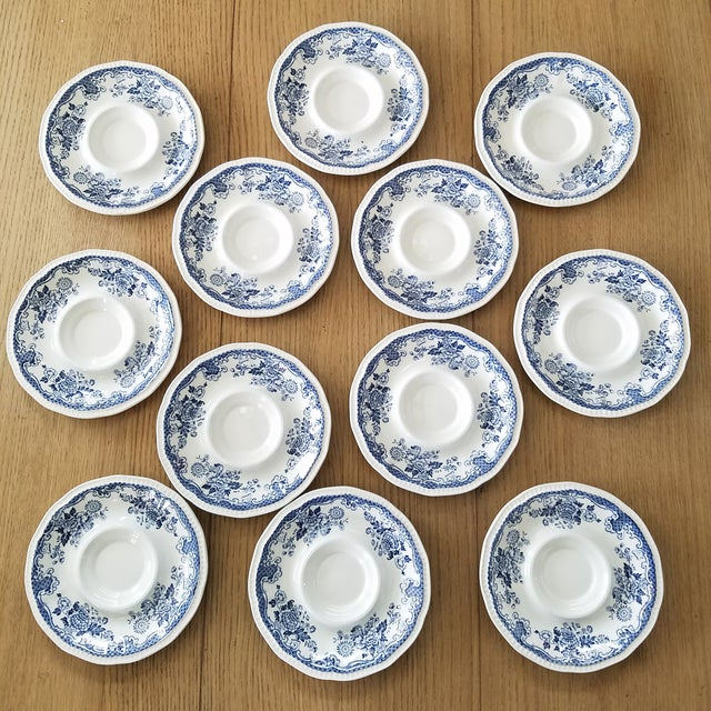 """Vintage 1801 Blue & White (eggshell) """"Balmoral"""" English ironstone cups and saucers in a set of 11 cups and 11 saucers, a..."""