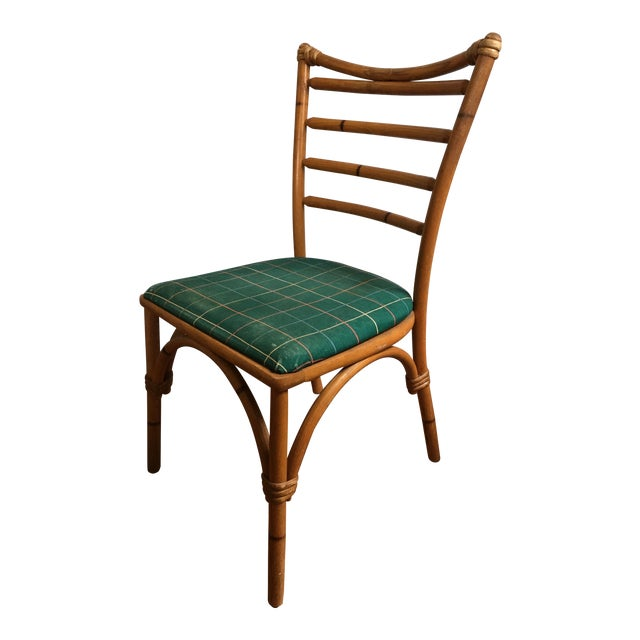 1940s Boho Chic Scorched Bamboo Accent Chair For Sale