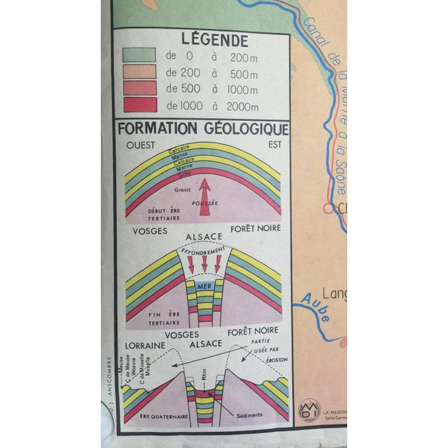 Double-Sided French Vintage School Map - Image 3 of 6