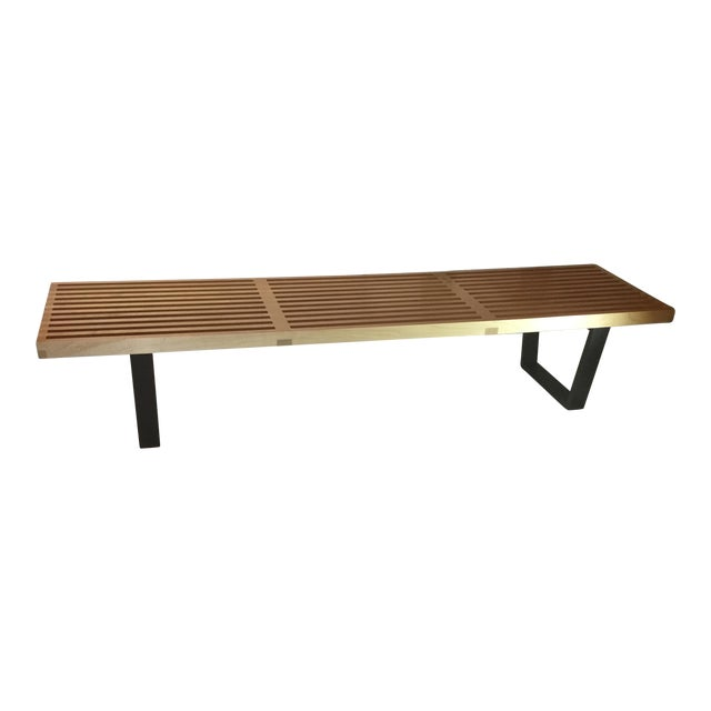 Mid-Century Herman Miller George Nelson Slat Bench in Maple - Image 1 of 8