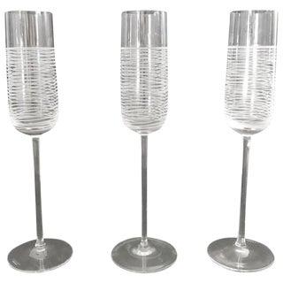 Italian Murano Champagne Glasses by Salviati - Set of 3 For Sale