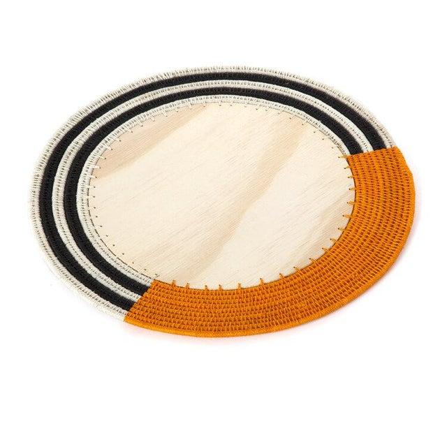 Boho Chic Round Stripe Charger Mango/cream & Black For Sale - Image 3 of 3
