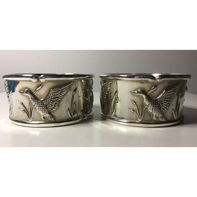 2 Vintage Silver Wine Coasters-Duck Hunting - Image 4 of 5