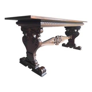 19th Century American Carved Eagle Oak Library Table by Kittinger of Buffalo For Sale