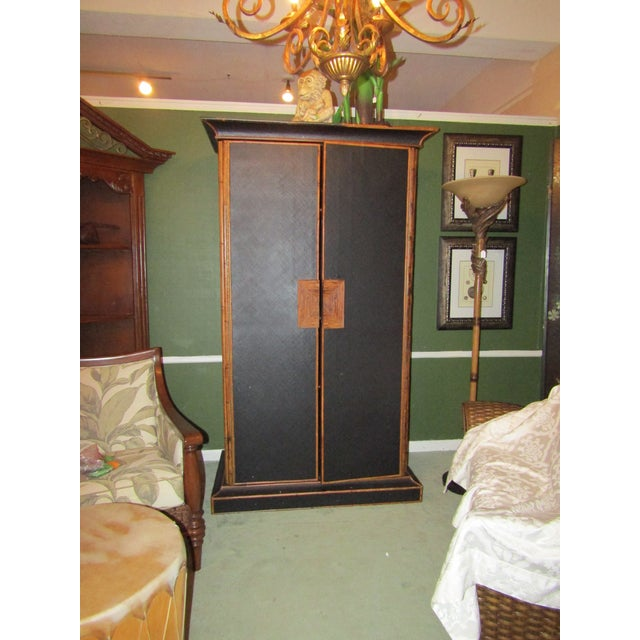 Black 1980s Boho Chic Tall Bamboo and Rattan Cabinet For Sale - Image 8 of 8