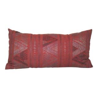 Handwoven Geometric Thai Silk Pillow Cover For Sale