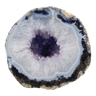 Organic Modern Light Amethyst Geode on Lucite For Sale