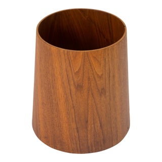 Jens Risom Walnut Wastebasket For Sale