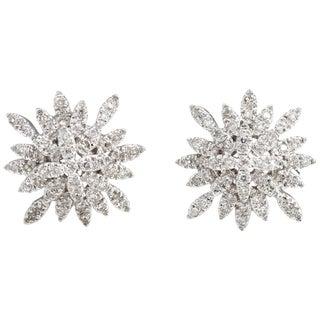 Estate Diamond Snowflake Earrings 14 Karat Gold Clip-On Vintage Fine Jewelry For Sale