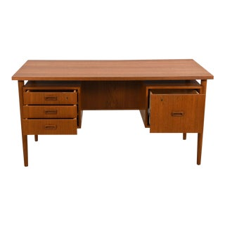 Mid-sized Danish Modern Floating Top Desk in Teak