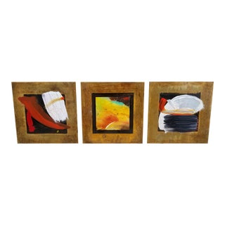 Tony Evans Triptych Abstract Art on Metal For Sale