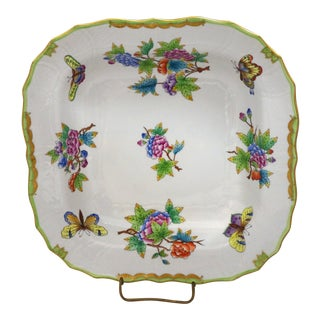 "Queen Victoria 11"" Square Fruit Dish by Herend For Sale"