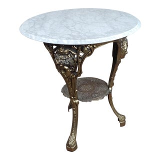 1950s French Provincial Brass Pub Bistro Table For Sale