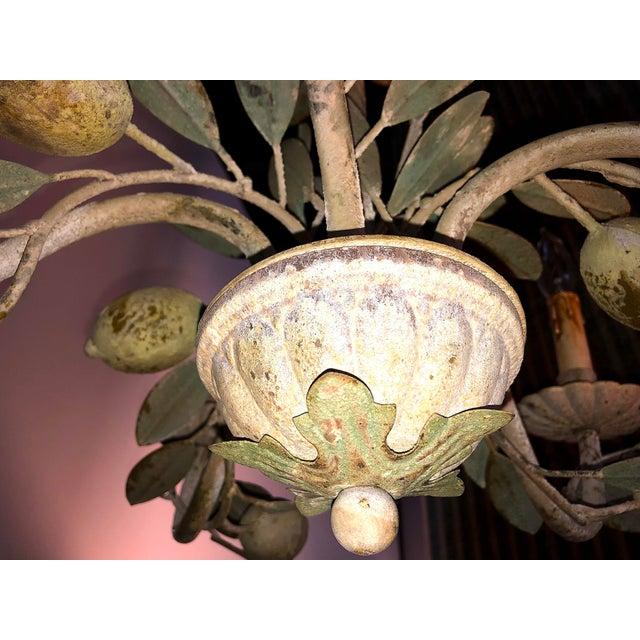 Vintage Inspired Tole Lemon Chandelier For Sale - Image 6 of 9