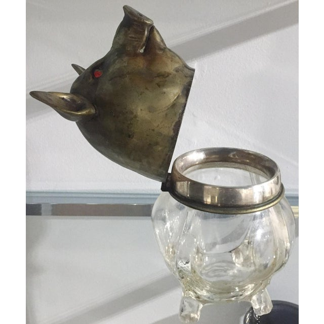 Vintage Glass and Brass Pig Head Jar - Image 8 of 10