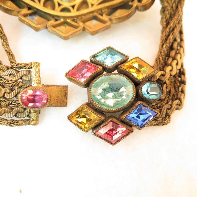 Blue Czech Art Deco Jewel-Tone Bohemian Crystal & Chains Bracelet 1920s For Sale - Image 8 of 13