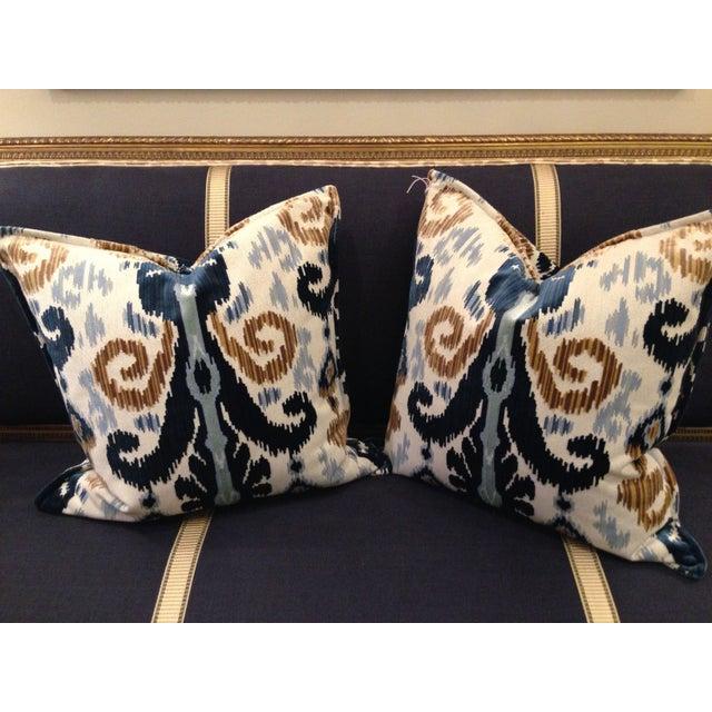Cut Velvet Blue & Gold Pillows - a Pair - Image 2 of 4