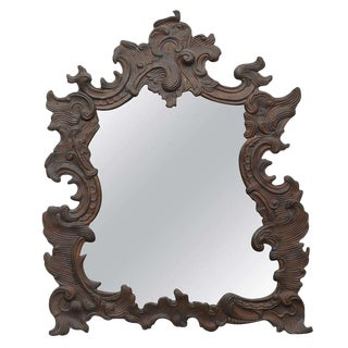 Continental Repoussé Copper Wall Mirror For Sale