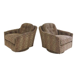 Vintage Milo Baughman Swivel and Tilt Lounge Chairs Restored in Kravet Leopard Print Fabric - a Pair For Sale