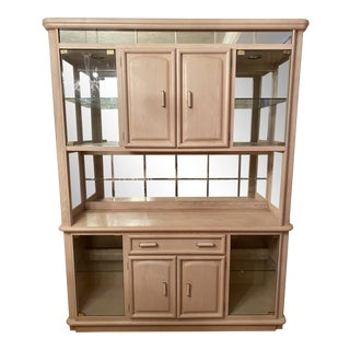 1990s Contemporary Broyhill White Washed Oak Hutch For Sale