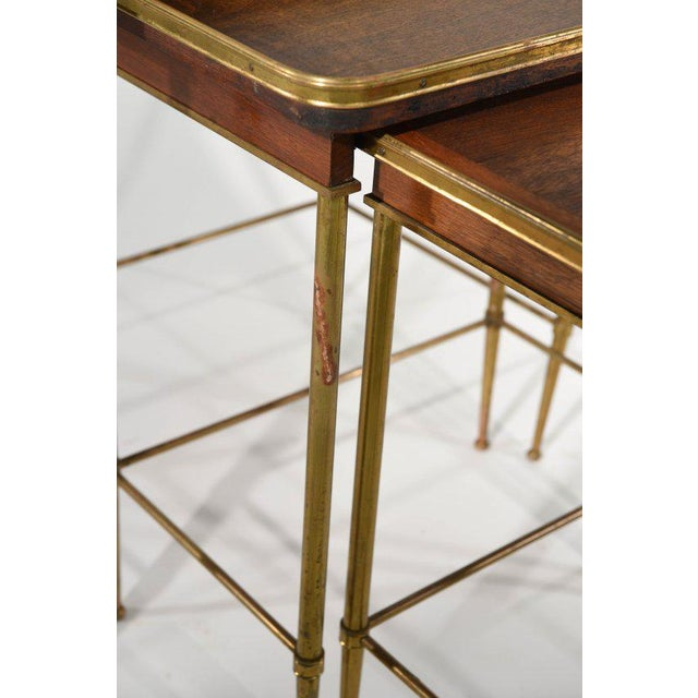 Brass & Wood Nesting Tables - Set of 3 For Sale - Image 5 of 7
