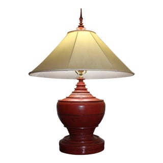 Burmese Hsun-Ok Red Lacquer and Bamboo Lamp For Sale