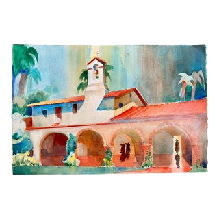 Vintage San Juan Capistrano Mission California Watercolor Painting For Sale