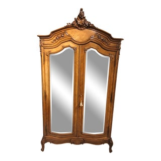 Antique French Mirror Two Door Armoire