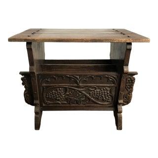 1920's Renaissance Revival Carved OakGrapes Side Table/Magazine Rack For Sale