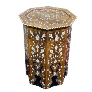 1940s Mother of Pearl Inlay Side Table For Sale
