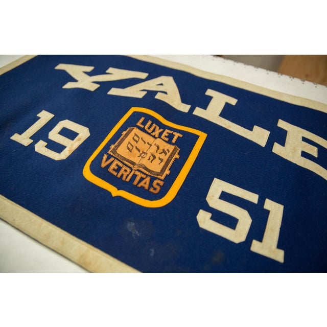 1950s Vintage Yale 1951 Felt Banner For Sale - Image 5 of 7