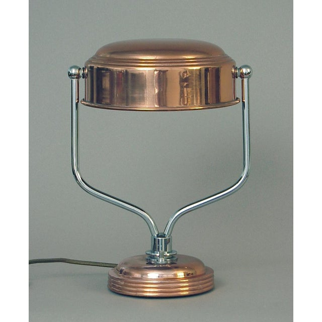 Markel Corporation Restored Markel Chrome and Copper Swiveling Table or Desk Lamp For Sale - Image 4 of 4