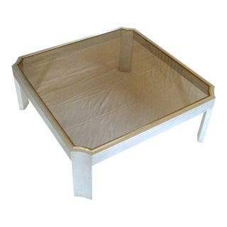 Smoked Glass Aluminum and Brass Coffee Table After Willy Rizzo For Sale