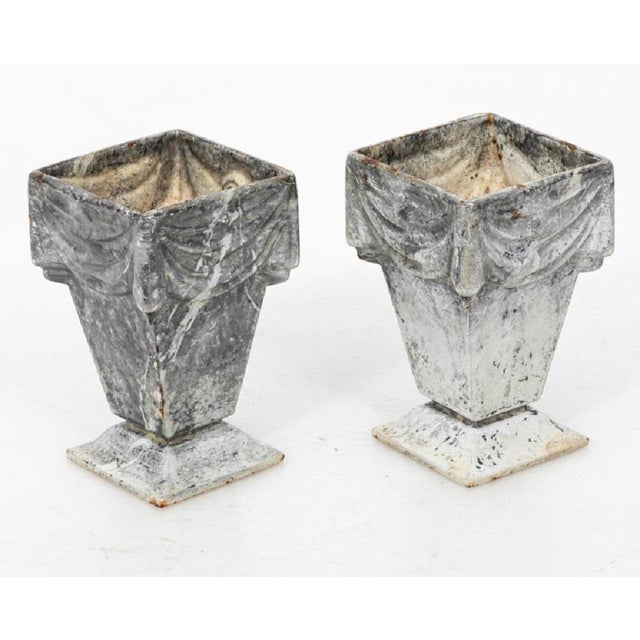 English Neoclassical Style Cast Iron Vases With White Enamel Finish For Sale - Image 3 of 7